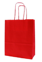 Red Italian Twist Handle Paper Gift Bag (18cm x 8cm x 25cm)